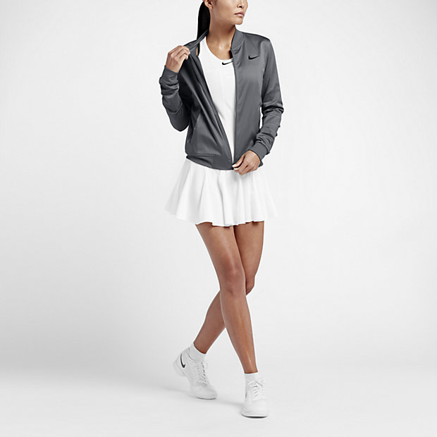 on sale 54dd0 d1b60 Nike träningsjacka tennis dam Köp tennisjacka för damer uppvärmning grå  feminin tennisjacka Köp grå tenniskläder damer ...